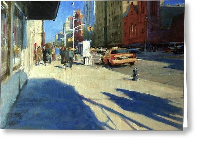Morning Shadows On Amsterdam Avenue  Greeting Card by Peter Salwen