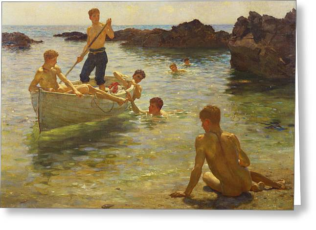 Wooden Greeting Cards - Morning Splendour Greeting Card by Henry Scott Tuke