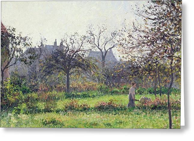 Farming Greeting Cards - Morning Sun Greeting Card by Camille Pissarro