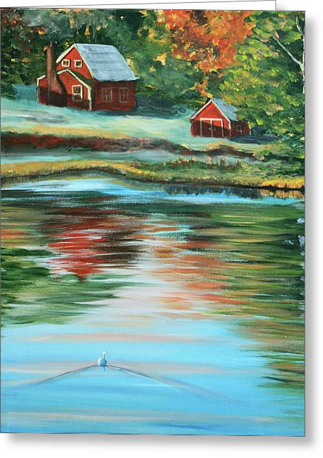 Little Red River Paintings Greeting Cards - Morning swim Greeting Card by Lorraine Vatcher