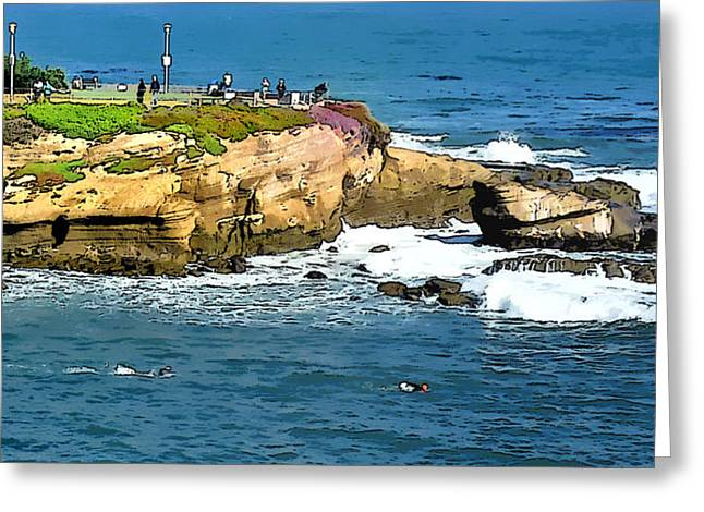 La Jolla Art Greeting Cards - Morning Swim Greeting Card by Russ Harris