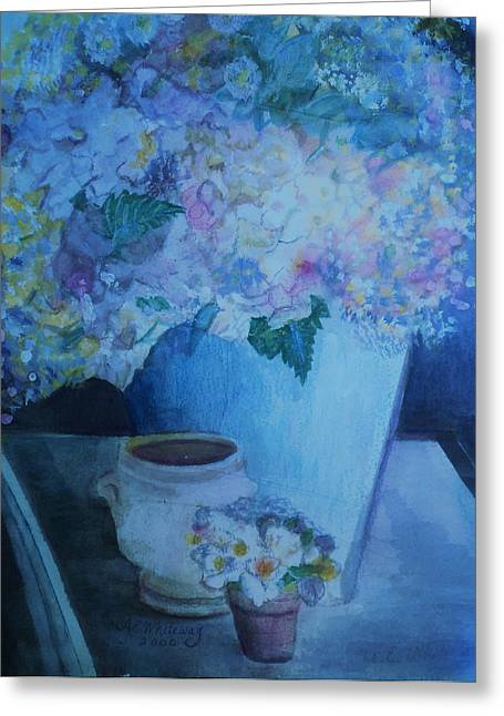 Morning Table Bouquet And Cups  The Cropped Version Greeting Card by Anne-Elizabeth Whiteway