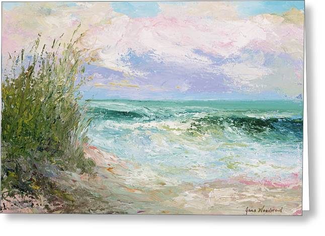 Sea Oats Greeting Cards - Morning Tide Greeting Card by Jane Woodward