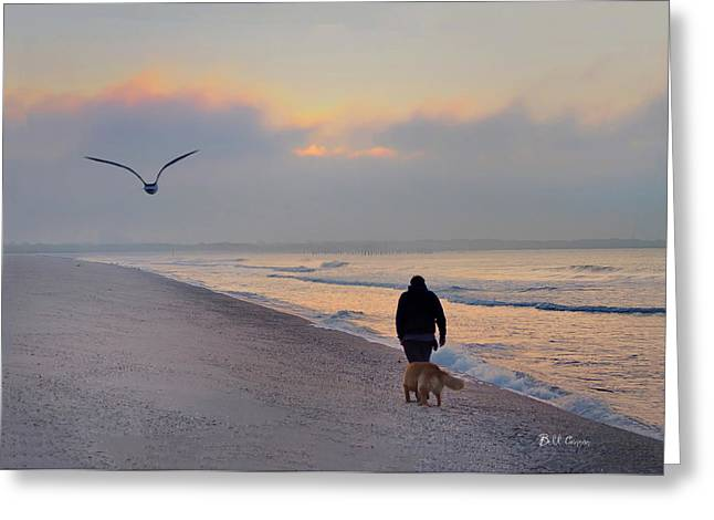 Maine Beach Digital Art Greeting Cards - Morning Walk Greeting Card by Bill Cannon