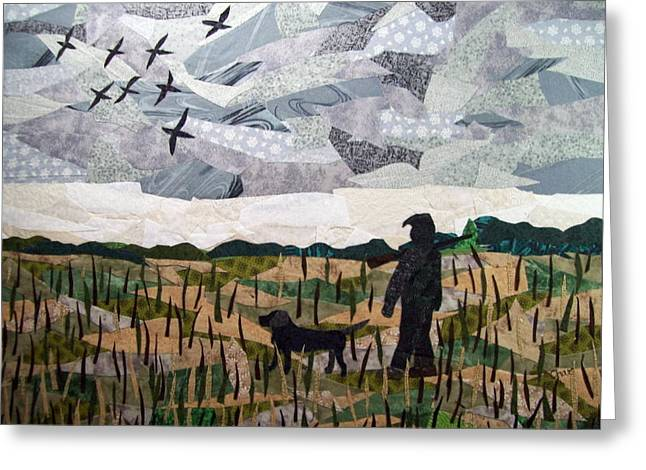 Grey Tapestries - Textiles Greeting Cards - Morning Walk Greeting Card by Charlene White