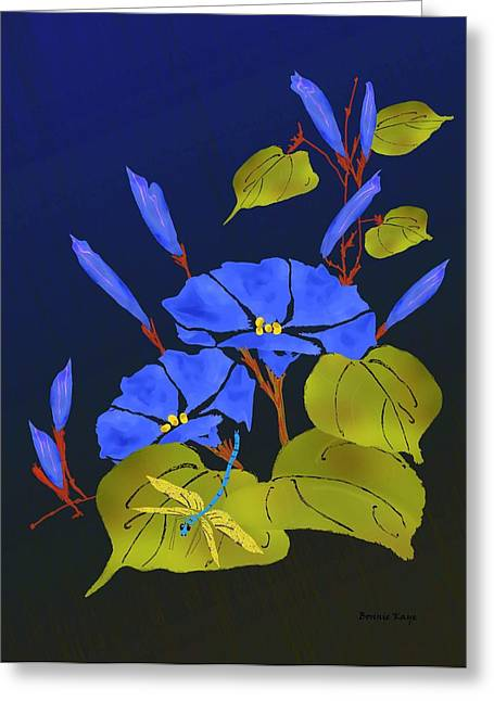 Floral Digital Art Greeting Cards - Morninglory and Dragonfly Greeting Card by Bonnie Kaye