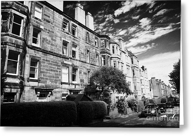 Desirable Greeting Cards - Morningside Gardens In Residential Victorian Area Of Edinburgh Greeting Card by Joe Fox