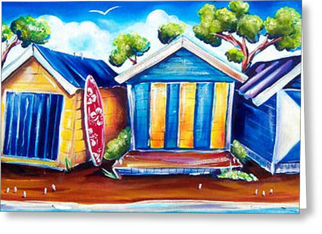 Beach Greeting Cards - Mornington Beach Huts Greeting Card by Deb Broughton