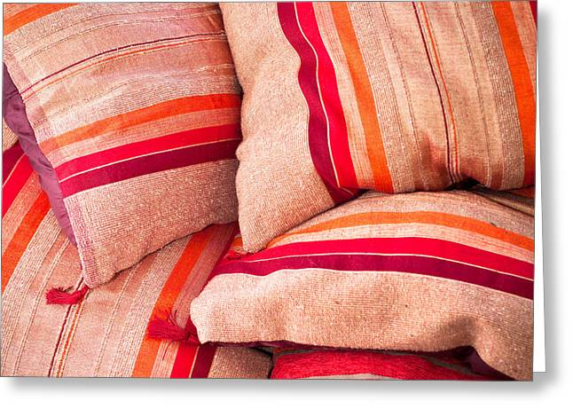 Cushion Photographs Greeting Cards - Moroccan cushions Greeting Card by Tom Gowanlock