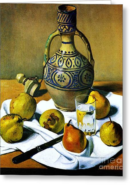 Swiss Paintings Greeting Cards - Moroccan Jug with Pears Greeting Card by Pg Reproductions