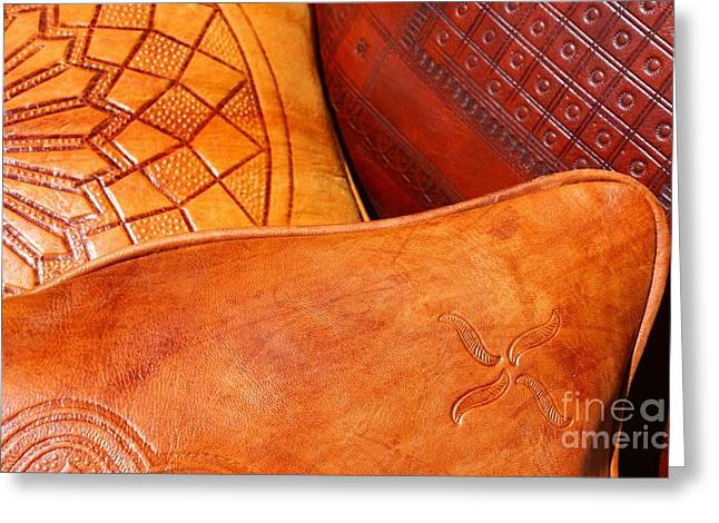 Best Sellers -  - Textile Photographs Greeting Cards - Moroccan Leather Greeting Card by Sophie Vigneault
