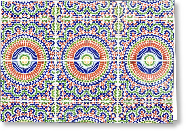 Ceramic Greeting Cards - Moroccan Tiles Greeting Card by Tom Gowanlock