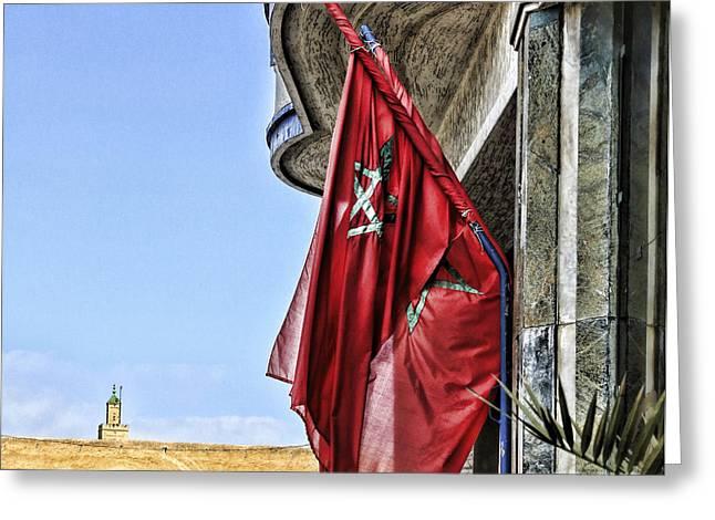 Morocco Flag I Greeting Card by Chuck Kuhn