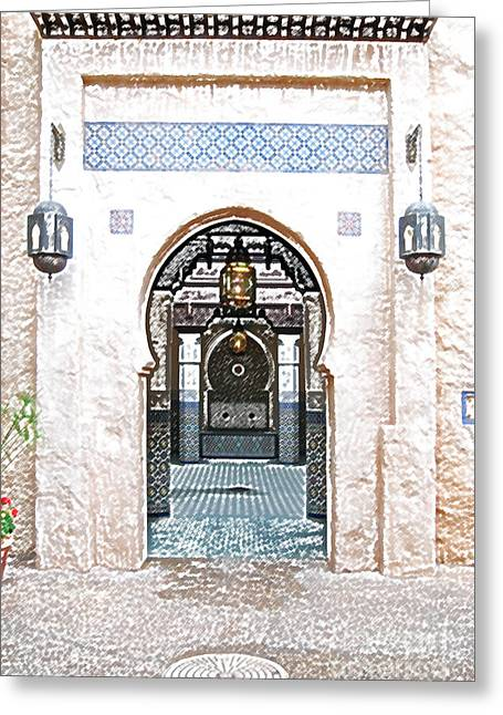 Moroccan Courtyard Greeting Cards - Morocco Pavilion Doorway Lamps Courtyard Fountain EPCOT Walt Disney World Prints Colored Pencil Greeting Card by Shawn O