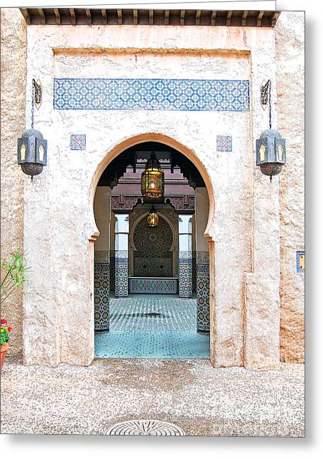 Moroccan Courtyard Greeting Cards - Morocco Pavilion Doorway Lamps Courtyard Fountain EPCOT Walt Disney World Prints Ink Outlines Greeting Card by Shawn O