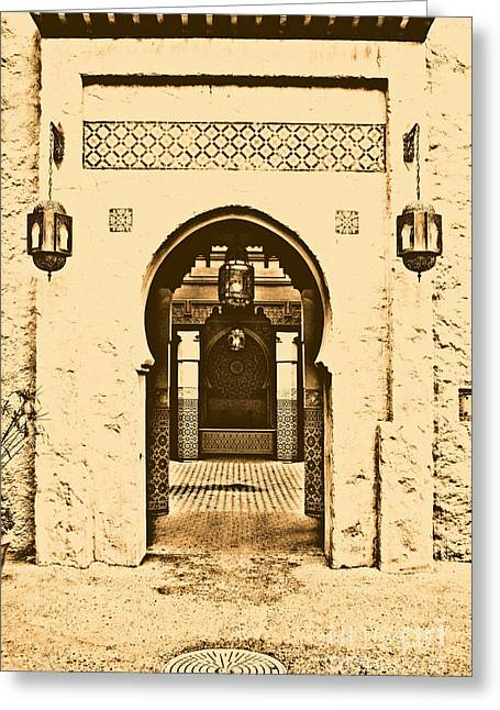 Moroccan Courtyard Greeting Cards - Morocco Pavilion Doorway Lamps Courtyard Fountain EPCOT Walt Disney World Prints Rustic Greeting Card by Shawn O