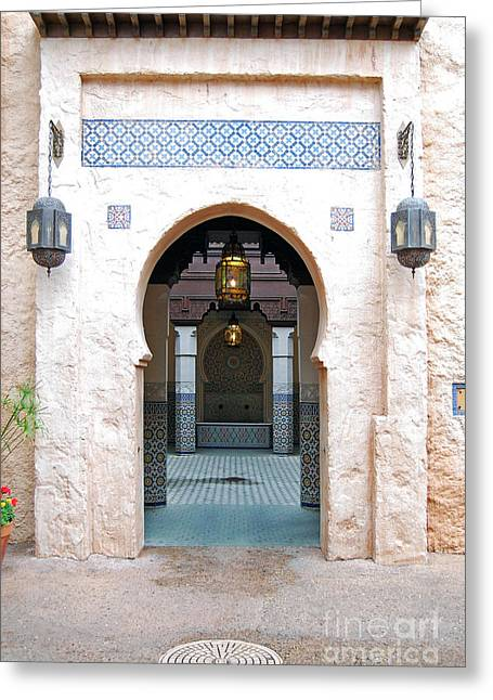 Moroccan Courtyard Greeting Cards - Morocco Pavilion Doorway Lamps Courtyard Fountain EPCOT Walt Disney World Prints Greeting Card by Shawn O
