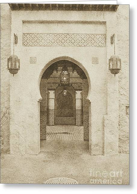 Moroccan Courtyard Greeting Cards - Morocco Pavilion Doorway Lamps Courtyard Fountain EPCOT Walt Disney World Prints Vintage Greeting Card by Shawn O