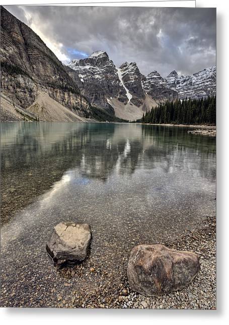 Alberta Water Falls Greeting Cards - Morraine Lake Alberta Greeting Card by Mark Duffy