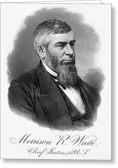 Chief Justice Greeting Cards - Morrison R. Waite (1816-1888) Greeting Card by Granger