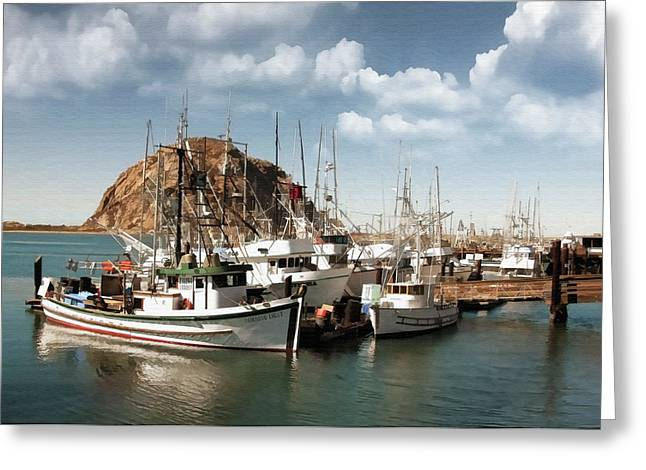 Morro Bay Harbor Greeting Card by Sharon Foster