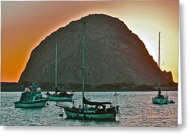 Sailboat Art Greeting Cards - Morro Bay Rock Greeting Card by Bill Owen