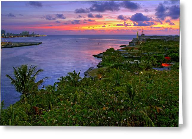 Lighthouse At Sunset Greeting Cards - Morro Castle. Havana. Cuba Greeting Card by Juan Carlos Ferro Duque