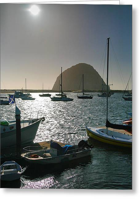 Pacific Ocean Prints Greeting Cards - Morro Rock And Harbor I Greeting Card by Steven Ainsworth