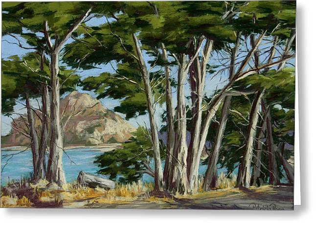 Seen Pastels Greeting Cards - Morro Rock Vista Greeting Card by Patricia Rose Ford