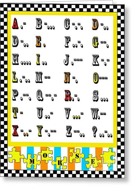 Morse Code Alphabet Juvenile Licensing Greeting Card by Anahi DeCanio