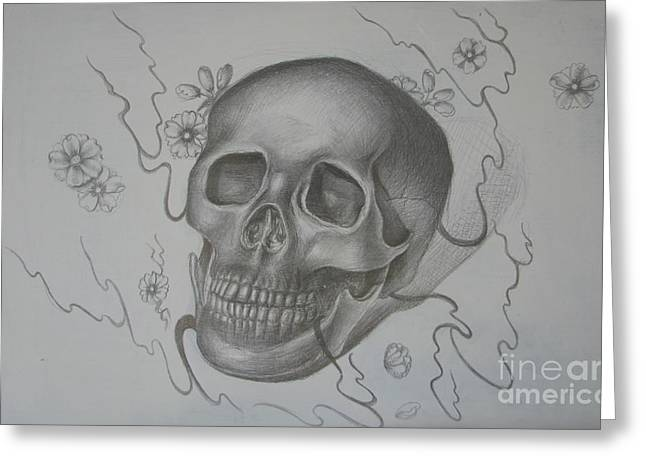 Cherry Drawings Greeting Cards - Mortality Greeting Card by Iglika Milcheva-Godfrey