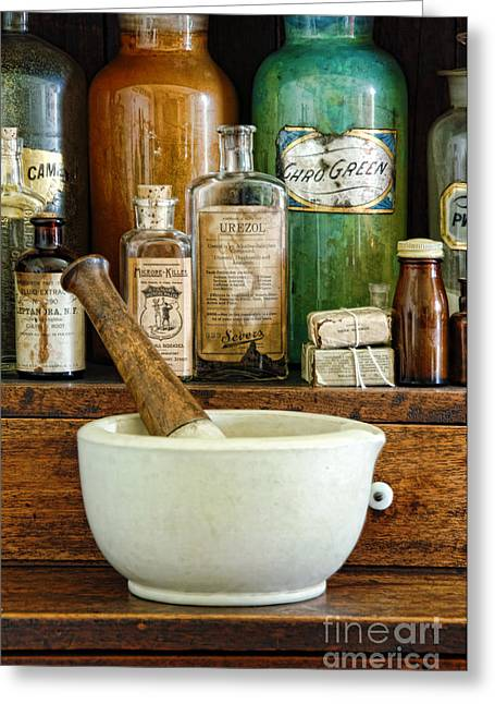 Narcotics Greeting Cards - Mortar and Pestle Greeting Card by Jill Battaglia