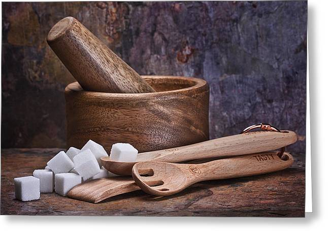 Sugar Cube Greeting Cards - Mortar and Pestle Still Life I Greeting Card by Tom Mc Nemar