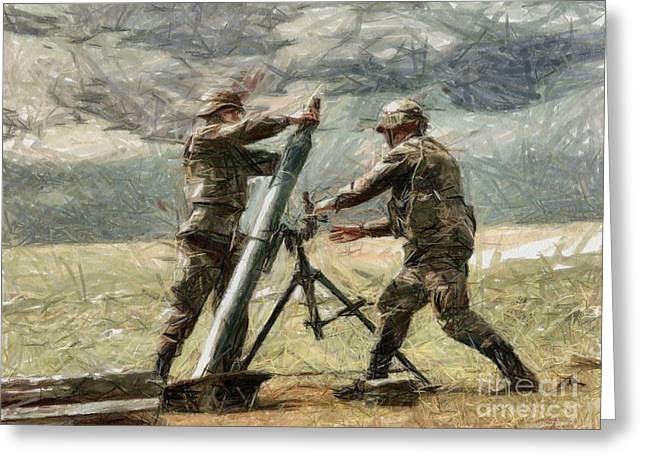 Murphy Elliott Greeting Cards - Mortar Combat Greeting Card by Murphy Elliott