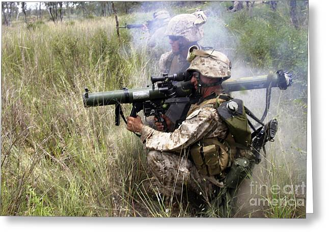 Assault Weapons Greeting Cards - Mortarman Fires An At4 Anti-tank Weapon Greeting Card by Stocktrek Images