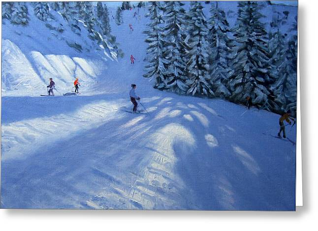 Downhill Skiing Greeting Cards - Morzine ski run Greeting Card by Andrew Macara