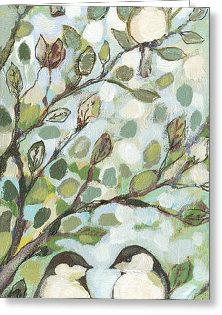 Baby Bird Paintings Greeting Cards - Mos Chickadees Greeting Card by Jennifer Lommers