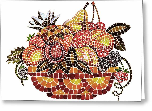 Mosaic Paintings Greeting Cards - Mosaic Fruits Greeting Card by Irina Sztukowski