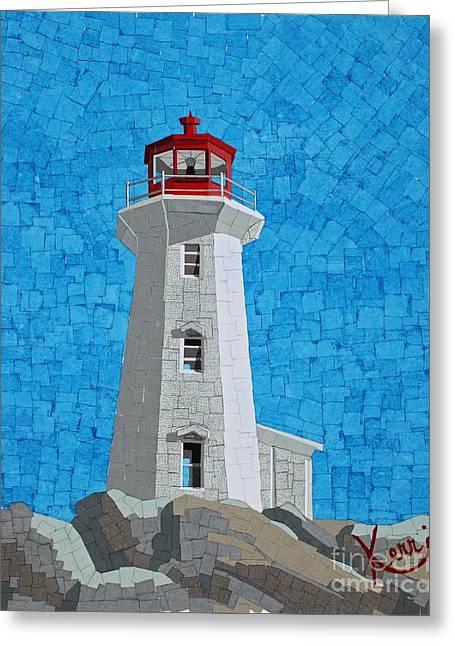 Ocean Shore Mixed Media Greeting Cards - Mosaic Lighthouse Greeting Card by Kerri Ertman