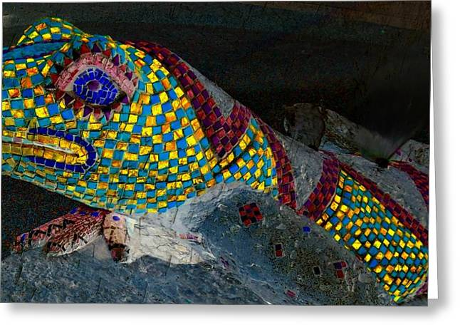 Animal Sculptures Greeting Cards - Mosaic Lizard Greeting Card by Randall Weidner