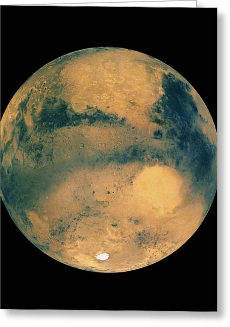 Planet Mars Greeting Cards - Mosaic Of Images Showing Mars Southern Hemisphere Greeting Card by Us Geological Survey