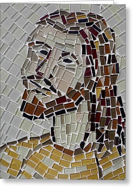 Jesus Mixed Media Greeting Cards - Mosaic of Jesus Greeting Card by Lou Ann Bagnall