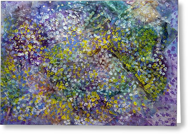 Green Ocean With White Water Greeting Cards - Mosaic Painting Greeting Card by Don  Wright