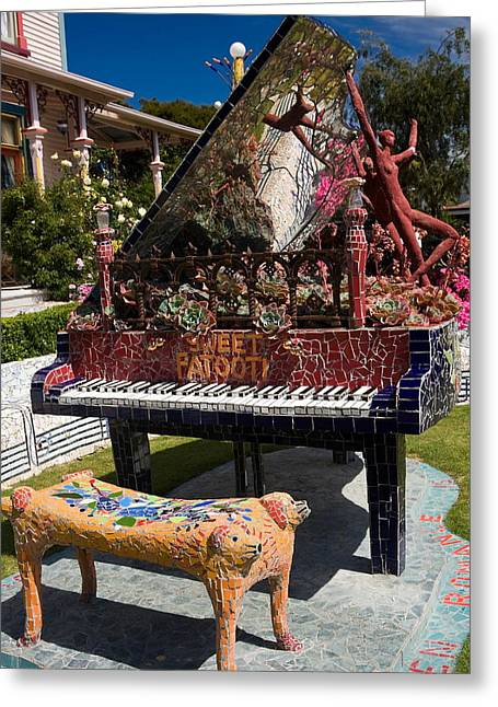 Giant Piano Greeting Cards - Mosaic Piano Sculpture Greeting Card by Sally Weigand