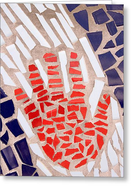 Tiled Greeting Cards - Mosaic Red Hand Greeting Card by Carol Leigh