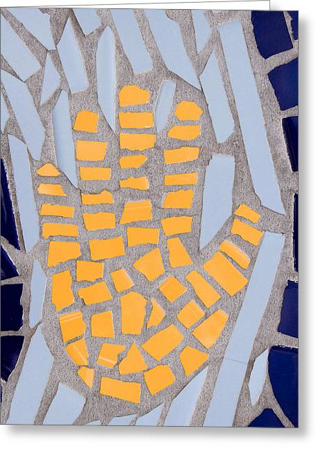 Tiled Greeting Cards - Mosaic Yellow Hand Greeting Card by Carol Leigh