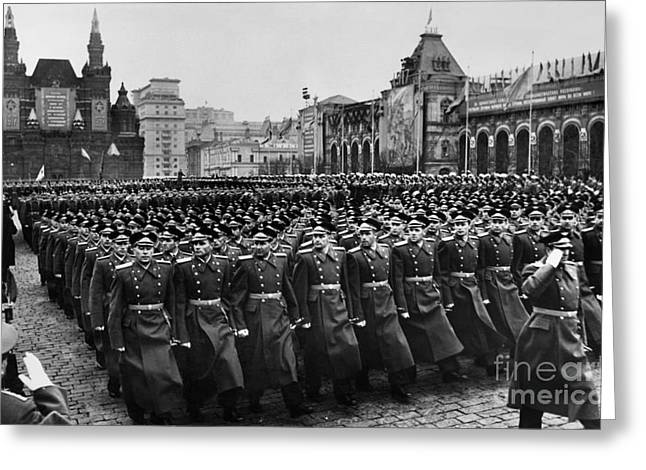 Moscow: Troop Review, 1957 Greeting Card by Granger