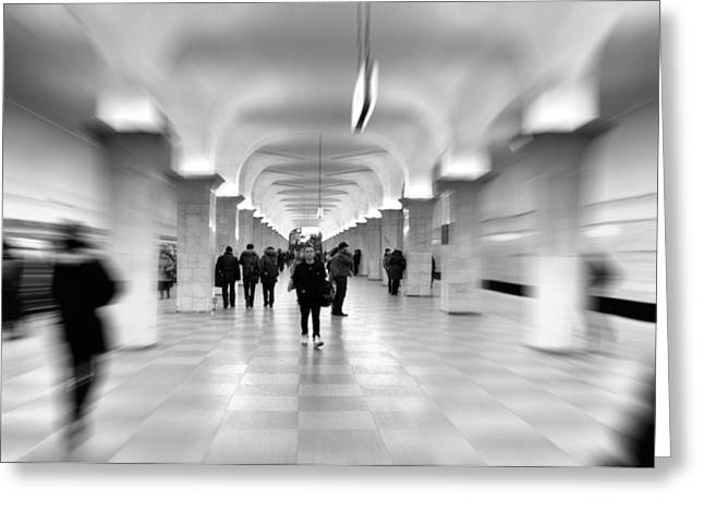 Interior Scene Photographs Greeting Cards - Moscow Underground Greeting Card by Stylianos Kleanthous