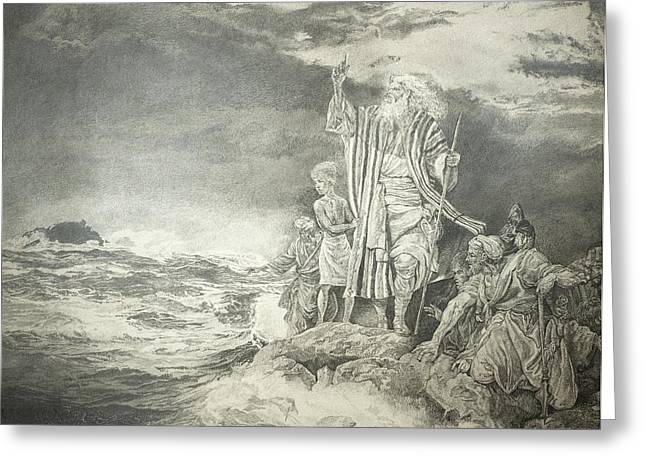 Historical Images Drawings Greeting Cards - Moses At The Red Sea Greeting Card by Rex Stewart