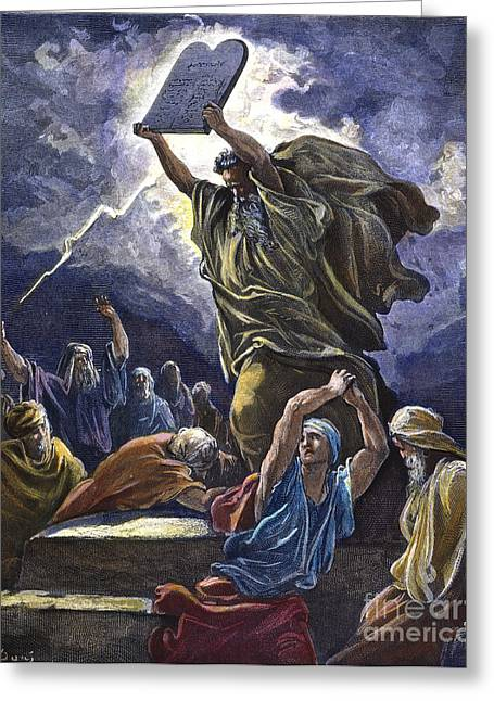 Tablets Greeting Cards - Moses Breaking The Tablets Greeting Card by Granger